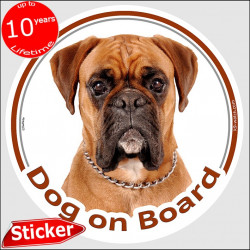 "Circle sticker ""Dog on board"" 15 cm, Fawn German Boxer Head, decal adhesive car label brown orange deutscher photo notice"