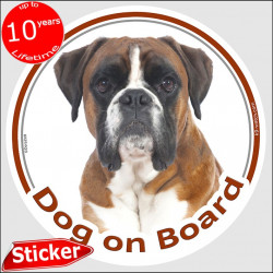"Fawn German Boxer, car circle sticker ""Dog on board"" 15 cm, decal label adhesive photo notice"
