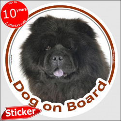 "Circle sticker ""Dog on board"" 15 cm, Black Chow-Chow Head, decal adhesive car label panda choo photo"