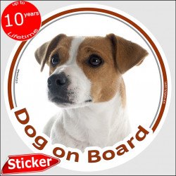 "Car Circle sticker ""Dog on board"" 15 cm, Brown Jack Russell Terrier Head, decal label adhesive photo notice"