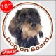 "Circle sticker ""Dog on board"" 15 cm, wild-boar wirehaired Dachshund Head, decal adhesive car label fawn orange doxie photo"