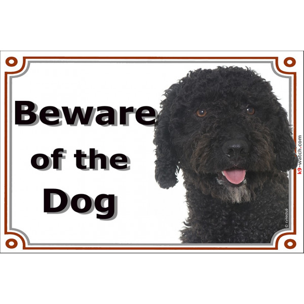 Black Spanish Water Dog head, Gate Sign Beware of the Dog plaque placard panel photo notice