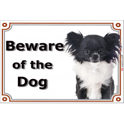 Chihuahua black & white long hair head, Gate Sign Beware of the Dog plaque placard panel photo