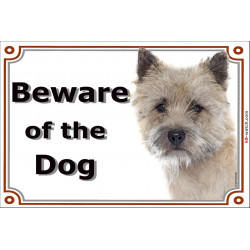 Cairn Terrier head, Gate Sign Beware of the Dog plaque placard panel photo