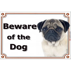 Fawn Pug head, Gate Sign Beware of the Dog plaque placard panel photo notice