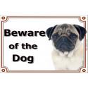 "Fawn Pug head, portal Sign ""Beware of the Dog"" 24 cm"