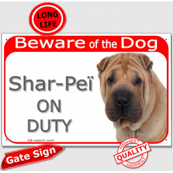 "Red Portal Sign ""Beware of the Dog, Shar-Peï on duty"" 24 cm"