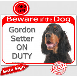 "Gordon Setter Head, Gate Plaque ""Beware of the Dog on Duty"" sign, placard, panel photo notice black and tan"