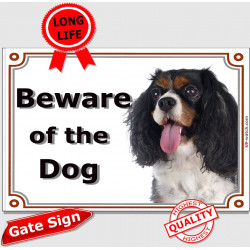 Tricolor Cavalier King Charles, Gate Sign Beware of the Dog plaque placard panel photo notice