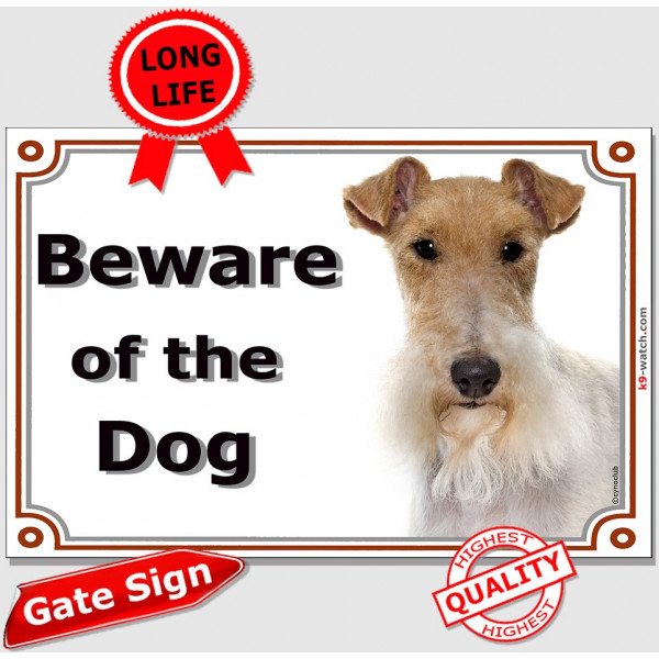 Fox-Terrier head, Gate Sign Beware of the Dog plaque placard panel photo notice