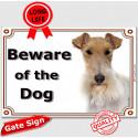 "Fox-Terrier head, portal Sign ""Beware of the Dog"" 24 cm"