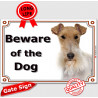 "Fox-Terrier head, portal Sign ""Beware of the Dog"" 24 cm"