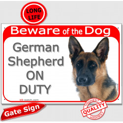 "Portal Sign red ""Beware of the Dog, German Shepherd medium-hair on duty"" GSD gate photo sign notice"