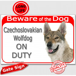 "Portal Sign red ""Beware of the Dog, Czechoslovakian Wolfdog on duty"" gate plate panel placard Vicak photo notice"
