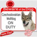 "Portal Sign red ""Beware of the Dog, Czechoslovakian Wolfdog on duty"" 24 cm"