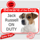 """Red Portal Sign """"Beware of the Dog, smooth white & fawn Jack Russell on duty"""" 24 cm gate plate notice, photo plaque"""