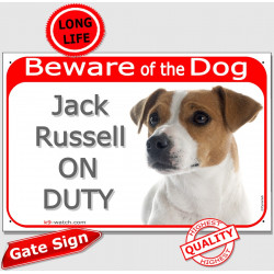 "Red Portal Sign ""Beware of the Dog, smooth white & fawn Jack Russell on duty"" 24 cm gate plate notice, photo plaque"