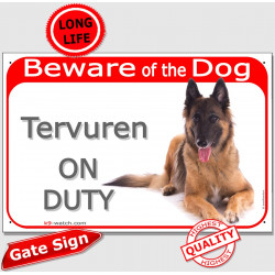 Portal Sign red 24 cm Beware of the Dog, Tervueren Belgium Shepherd on duty, gate plate Tervuren placard