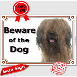 "Fawn Briard head, portal Sign ""Beware of Dog"" berger de Brie placard portal, door plate photo notice"