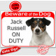 """Red Portal Sign """"Beware of the Dog, tricolor Jack Russell on duty"""" 24 cm gate plate notice, photo plaque"""