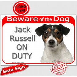 "Red Portal Sign ""Beware of the Dog, tricolor Jack Russell on duty"" 24 cm gate plate notice, photo plaque"
