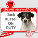 """Red Portal Sign """"Beware of the Dog Jack Russell on duty"""" 24 cm"""