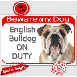 Portal Sign red 24 cm Beware of Dog, Fawn & White English Bulldog on duty, Gate plate british red photo