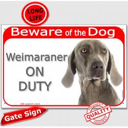 Portal Sign red 24 cm Beware of Dog, Weimaraner on duty, Gate Plate Vorstehhund