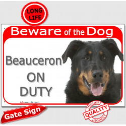 "Red Portal Sign ""Beware of the Dog, Beauceron on duty"" French Beauce Shepherd photo plaque"