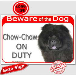 "Red Portal Sign ""Beware of the Dog, black Chow-Chow on duty"" 24 cm, gate plate photo notice"