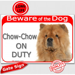 "Red Portal Sign ""Beware of the Dog, red Chow-Chow on duty"" fawn orange Chow gate plate placard Choo panda"