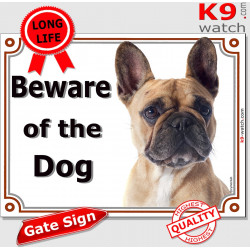 "Red Fawn French Bulldog, portal Sign ""Beware of the Dog"" Gate plate photo Frenchie door plaque notice"