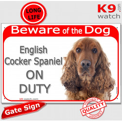 "red Portal Sign ""Beware of the Dog, red English Cocker Spaniel on duty"" gate plate placard panel photo notice"