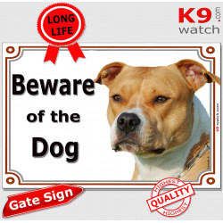 "Fawn orange Amstaff, portal Sign ""Beware of the Dog"" portal placard, gate plate, door panel red photo notice american stafford t"