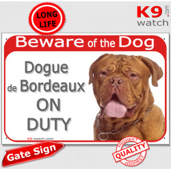 """Red Portal Sign """"Beware of the Dog, Dogue de Bordeaux on duty"""" gate plate dog photo Mastiff notice"""