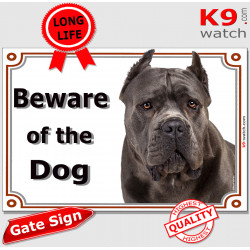 "Blue Cane Corso,, portal Sign ""Beware of Dog"" gate plate Grey Italian Mastiff , Door placard panel photo notice"