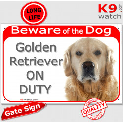 "Red portal Sign""Beware of Dog, Golden Retriever on duty"" gate plate photo notice"
