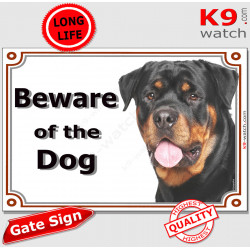 """Rottweiler head, portal Sign """"Beware of the Dog"""" gate plate rotate, placard panel Rott gate plate photo notice, door plaque"""