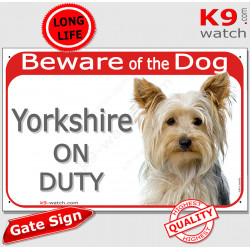 """Red Portal Sign """"Beware of the Dog, Yorkshire on duty"""" Gate photo notice Yorkie, Door plate"""