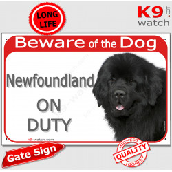 """Red Portal Sign """"Beware of the Dog, Newfoundland on duty"""" Plate photo notice newf Gate panel"""