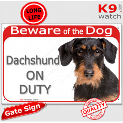 """Red Portal Sign """"Beware of Dog, wirehaired Dachshund on duty"""" Gate plate Black & Tan Dackel Teckel Doxie Weenie photo notice"""