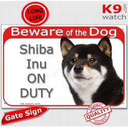"Red Portal Sign ""Beware of Dog, Shiba Inu on duty"" Gate plate Black, white & Tan tricolor Shiba photo notice"