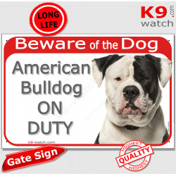 """Red Portal Sign """"Beware of Dog, black and White American Bulldog on duty"""" portal placard door plate panel photo notice"""