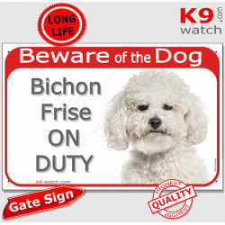 """Red Portal Sign """"Beware of Dog, Bichon Frise on duty"""" door plate panel photo notice Curly Tenerife"""
