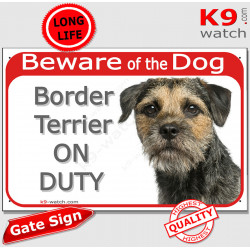 """Red Portal Sign """"Beware of the Dog, Border Terrier on duty"""" gate plate, door placard panel photo notice"""