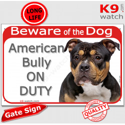 """red portal Sign """"Beware of Dog, tricolor American Bully on duty"""" gate plate placard panel photo notice"""