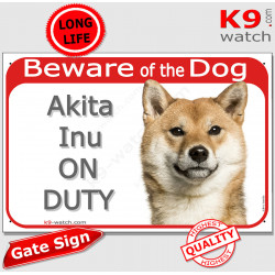 """Red Portal Sign """"Beware of the Dog, fawn Japanese Akita Inu on duty"""" Gate plate photo notice Door plaque Yellow orange Japanese"""