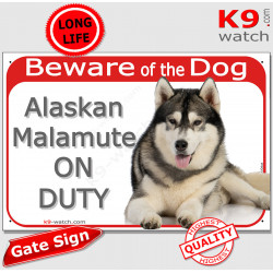 """Red Portal Sign """"Beware of the Dog, Alaskan Malamute on duty"""" Gate plate photo notice Door plaque lying"""