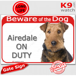 """Red Portal Sign """"Beware of the Dog, Airedale Terrier on duty"""" Gate photo sign notice, Door panel cautious warning"""