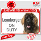 """Red Portal Sign """"Beware of the Dog, Leonberger on duty"""" 24 cm, gate plate notice dog photo"""